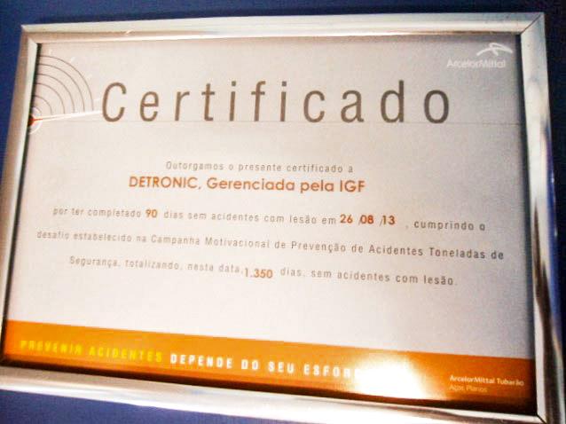 Certificado Toneladas de segurança