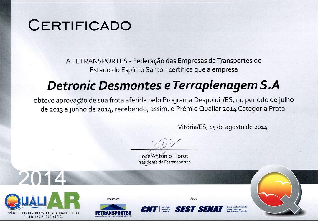 Prêmio Qualiar de Meio Ambiente Recebido pela Detronic
